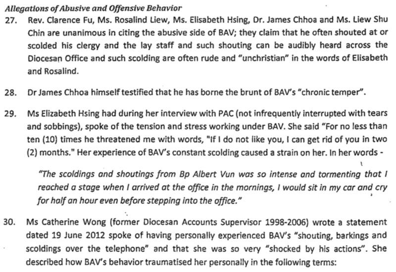 PAC investigation into Bishop Albert Vun's abusive behaviours.