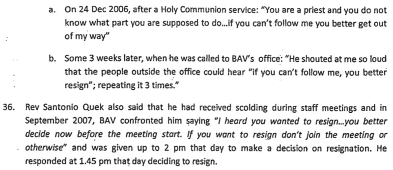 PAC investigation into Bishop Albert Vun's abusive behaviours.