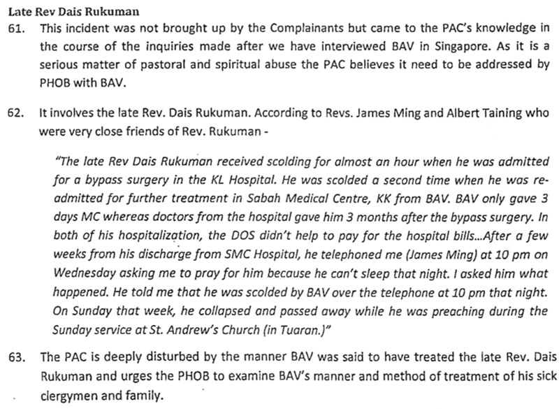 PAC Report on how Bishop Albert Vun treated the late Rev. Dais Rukuman.