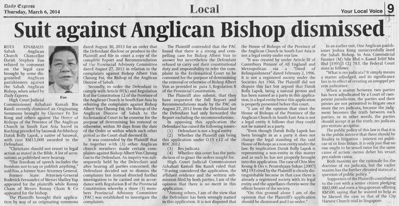 Daily Express on lawsuit against the Provincial House of Bishop