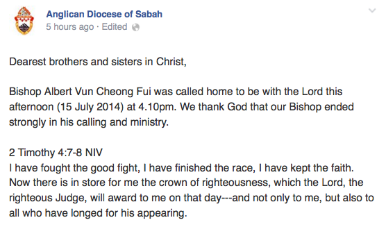 Bishop Albert Vun passed away.